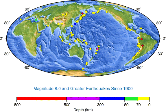 Map of strong earthquake epicenters