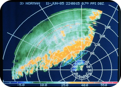 Radar view of a line of thunderstorms