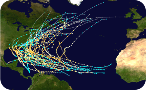Map of Category 3 hurricanes