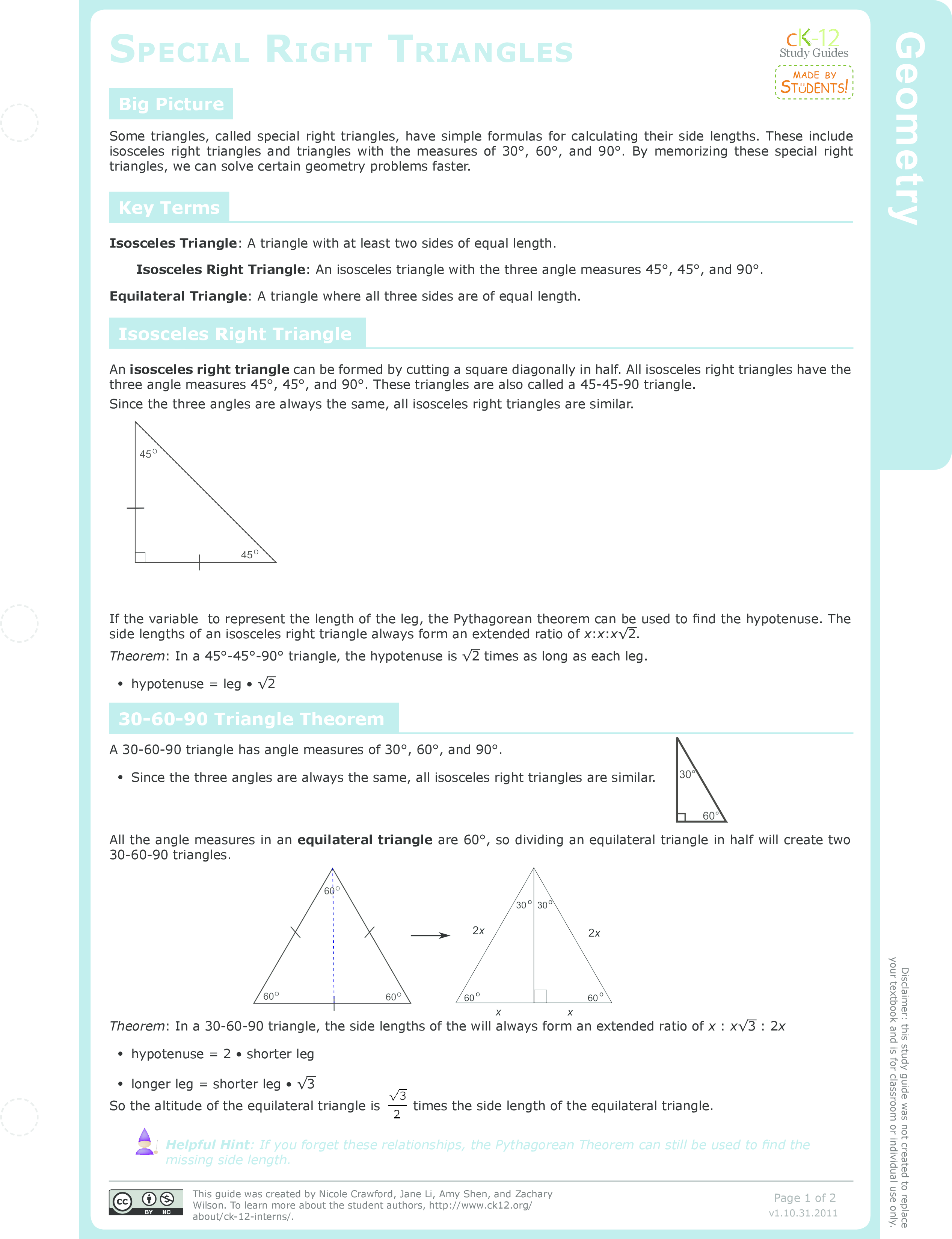 454590 Right Triangles Study Aids Geometry – Special Right Triangles 45 45 90 Worksheet