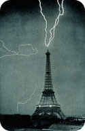 Multiple lighting bolts strike the Eiffel Tower of Paris