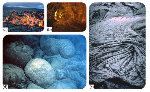Pictures of A'a, pahoehoe, and pillow lava