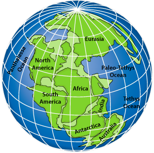 Map of the supercontinent Pangaea