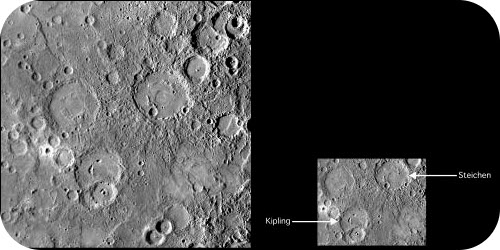 Mercury is covered with craters, like Earth's Moon