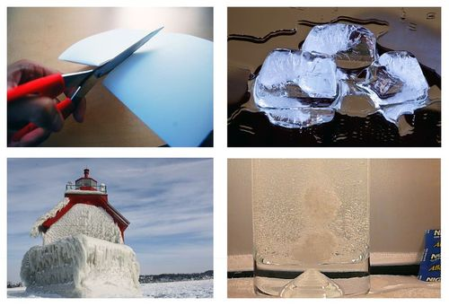 Paper being cut by scissors, ice cube melting, tablet dissolving in water, lighthouse being coated in ice