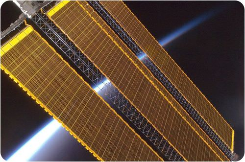 Solar array panels on International Space Station