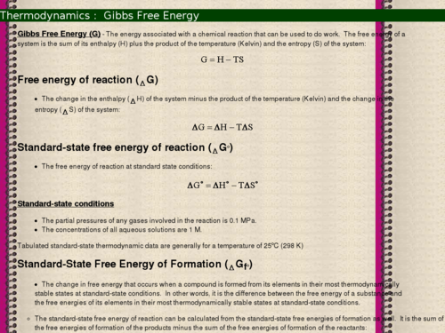 Thermodynamics: Gibbs Free Energy