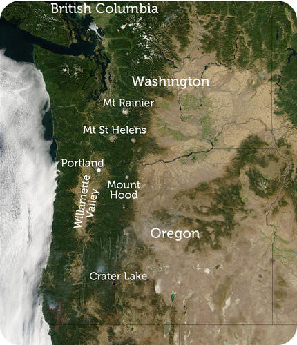 Map of major geographic features of the Pacific Northwest