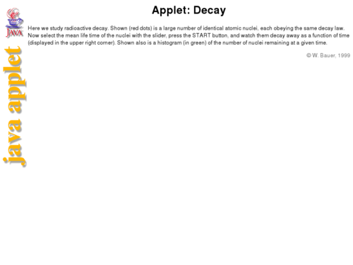 Applet: Decay