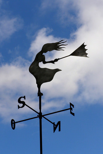 weather vane silhouette against the bright sky