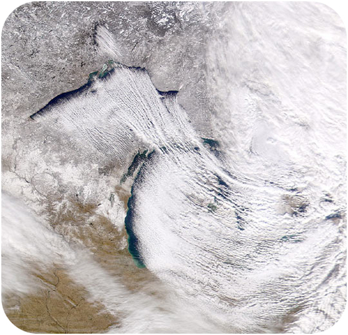 Satellite image of lake-effect snow