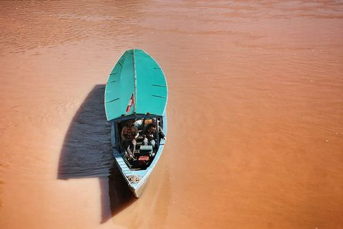 The Amazon River appears brown when carrying a large sediment load