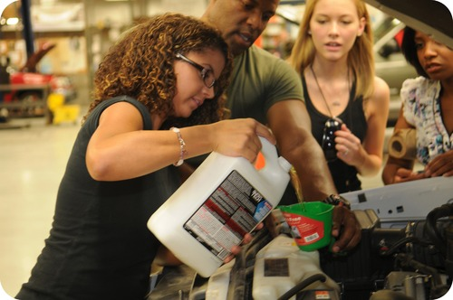 Polyethylene glycol being poured into a radiator