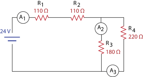 Practice circuit with a total of four resistors and a current source