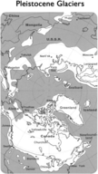 Map showing how much land the Pleistocene glaciers covered