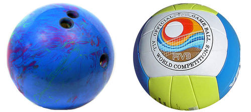 A bowling ball is denser than a volleyball
