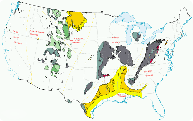 US coal producing regions in 1996