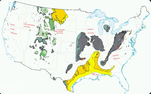 US coal producing regions in 1996