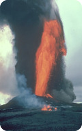 A lava fountain erupts from Pu'u O'o, a cinder cone on Kilauea