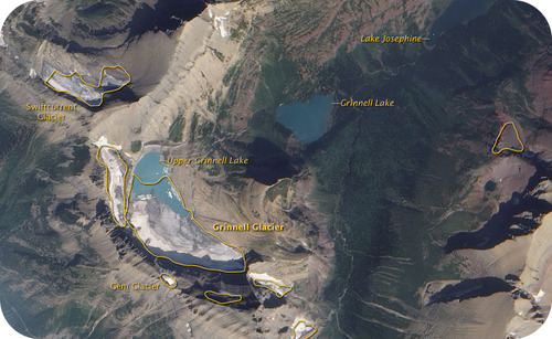 Satellite image of Glacier National Park, and its shrinking glaciers