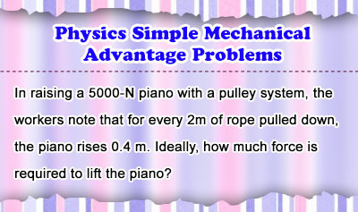 Physics Simple Mechanical Advantage Problems
