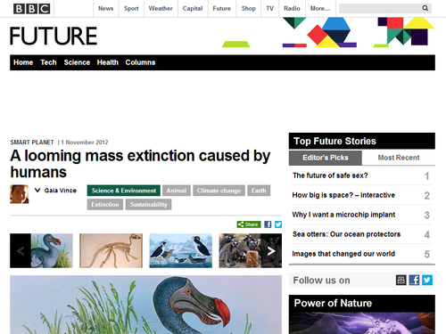 A looming mass extinction caused by humans