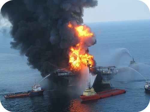 The Deepwater Horizon oil rig on fire in the Gulf of Mexico