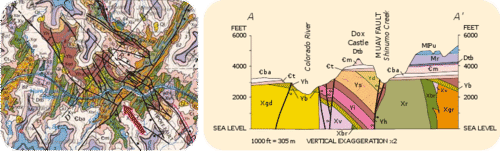 A portion of the geologic map of the Grand Canyon, Arizona