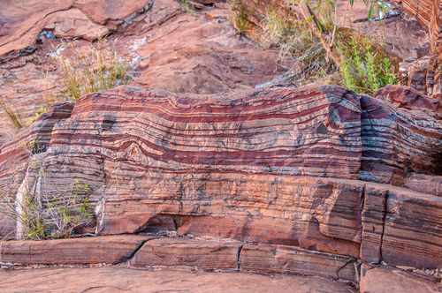 A banded iron formation, showing the appearance of oxygen