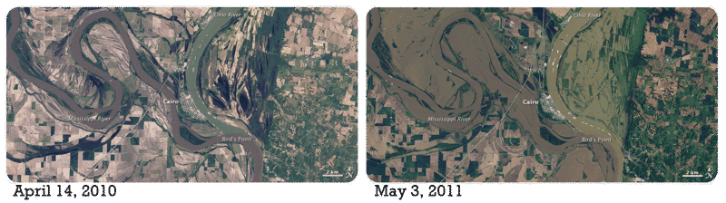 Flooding in 2011 of the Mississippi River, and the opening of the New Madrid Floodway