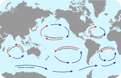 Map of the ocean gyres