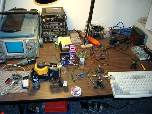 An electronics workbench.