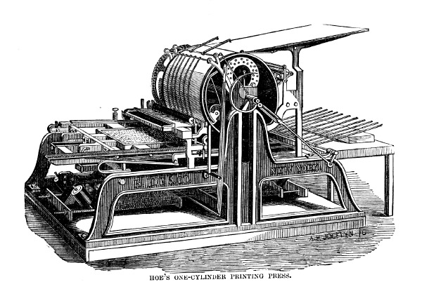 Rotary printing press invented by Richard Hoe.
