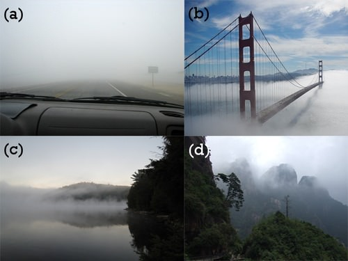 Pictures of tule, advection, steam, and upslope fog