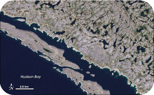 Satellite image of ancient greenstone exposed by glaciers on the Canadian Shield