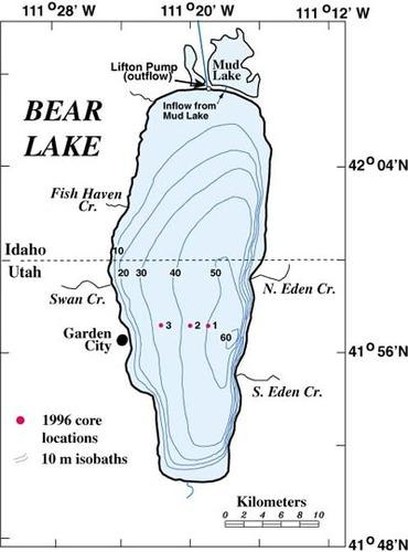 Bathymetric map of Bear Lake, Utah