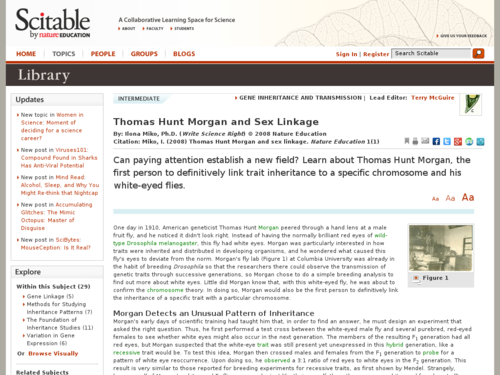 Thomas Hunt Morgan and Sex Linkage
