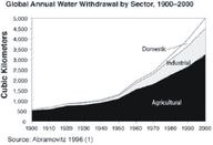 Global annual water withdrawal by sector, 1900-2000.