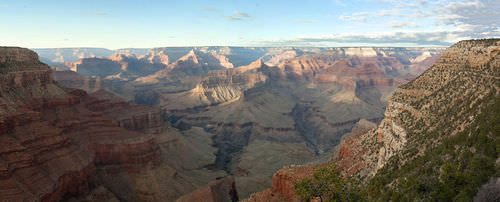 Weathering in the Grand Canyon, with hard rocks forming cliffs and soft rocks forming slopes