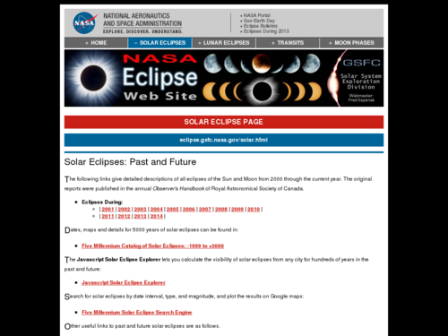 Solar Eclipses: Past and Future