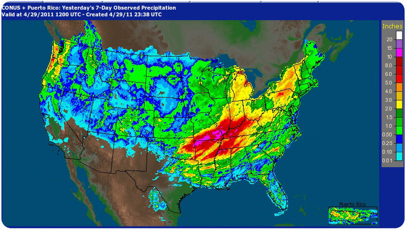 Heavy rainfall in 2011 lead to the Mississippi River floods