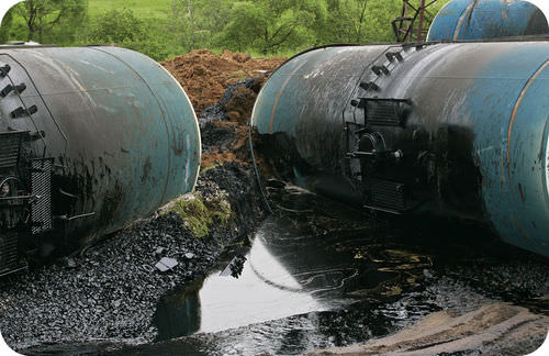 Leaking tanks of oil