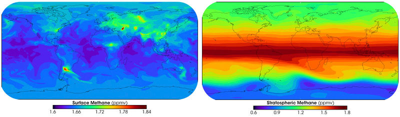 Map of surface and stratospheric methane