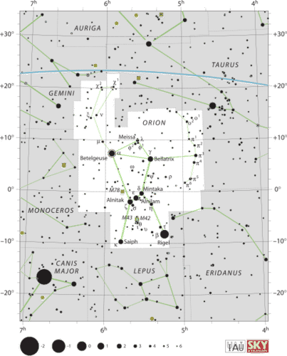 Star map of the stars in the constellation orion