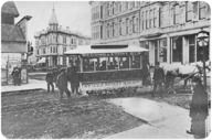 The first horse-drawn street car in Seattle, Washington in 1884.