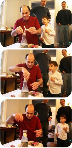 Hard-boiled egg being sucked into bottle as result of Amonton's Law