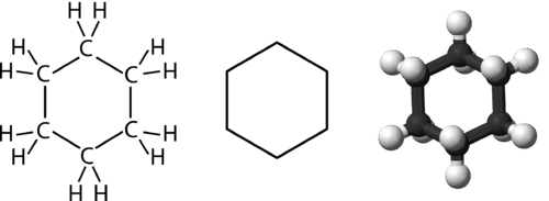 Various representations of the structure of cyclohexane