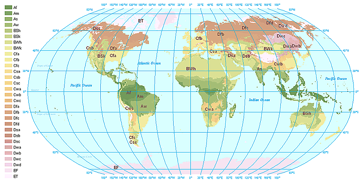 Map of the world's climate types