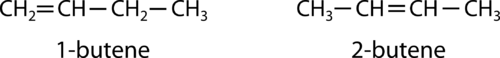 Example of alkene structural isomers