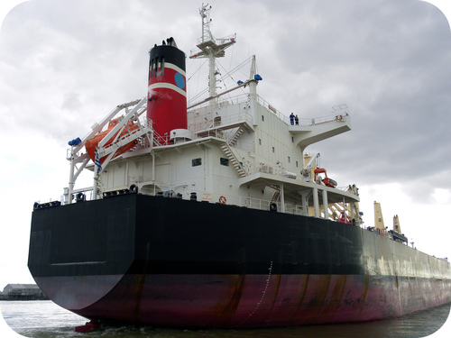 Cargo ship displaces water equal to its mass